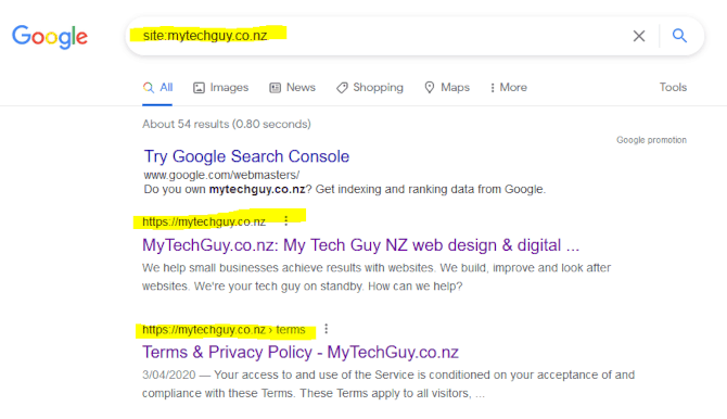 Google site search example using site:mytechguy.co.nz